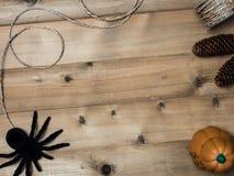 Halloween-Gegenstandkonzept mit hölzernem Hintergrund Stockbild