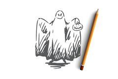 Halloween, Geist, furchtsam, Grausigkeit, Spaßkonzept Hand gezeichneter lokalisierter Vektor stock abbildung