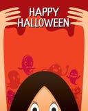 Halloween-Geist und Monster-Charakter-Plakat Lizenzfreie Stockfotos