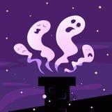 Halloween-Geister, die um Kamin fliegen Stockbild
