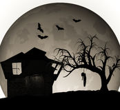 Halloween-Geisterhaus-Illustration Lizenzfreies Stockfoto