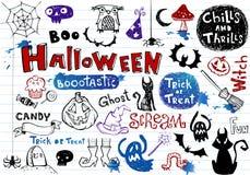 Halloween-Gekritzelset Stockfoto