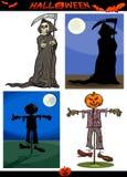 Halloween-Geplaatste Beeldverhaal Griezelige Thema's Royalty-vrije Stock Foto