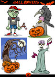 Halloween-Geplaatste Beeldverhaal Griezelige Thema's vector illustratie