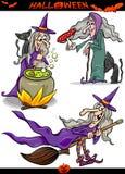 Halloween-Geplaatste Beeldverhaal Griezelige Thema's Royalty-vrije Stock Afbeeldingen