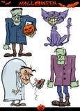 Halloween-Geplaatste Beeldverhaal Griezelige Thema's Stock Afbeelding