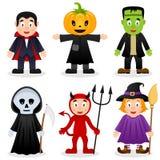 Halloween-Geplaatste Beeldverhaalmonsters Stock Afbeelding