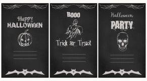 Halloween-geplaatste groet vectorkaarten De stijl van het Grungebord Royalty-vrije Stock Fotografie
