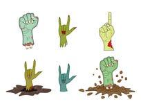 Halloween-geplaatste het gebaarvector van de Zombiehand - realistische beeldverhaal geïsoleerde illustratie Beeld van het enge ge Stock Afbeeldingen