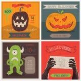 Halloween-geplaatste Kaarten Vector illustratie Stock Fotografie