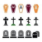 Halloween, geplaatste kerkhof kleurrijke pictogrammen - doodskist, kruis, graf Royalty-vrije Stock Afbeeldingen