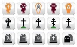 Halloween, geplaatste kerkhofpictogrammen - doodskist, kruis, graf Stock Fotografie