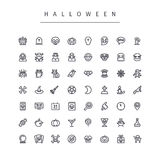 Halloween-Geplaatste Lijnpictogrammen Royalty-vrije Stock Afbeelding