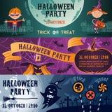 Halloween-geplaatste partij vlakke banners Stock Afbeelding