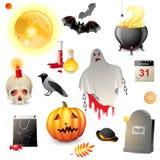Halloween-geplaatste pictogrammen Stock Afbeelding