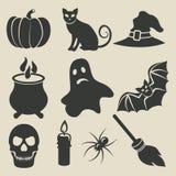 Halloween-geplaatste pictogrammen royalty-vrije illustratie