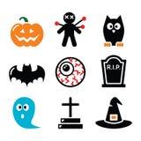 Halloween-geplaatste pictogrammen - pompoen, heks, spook Stock Fotografie