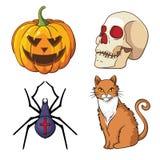 Halloween-geplaatste pictogrammen: pompoen, schedel, spin, kat Stock Afbeelding