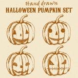 Halloween-geplaatste pompoenschetsen Royalty-vrije Stock Fotografie