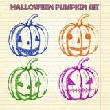 Halloween-geplaatste pompoenschetsen Royalty-vrije Stock Afbeeldingen