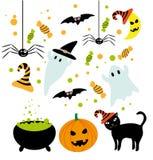 Halloween-geplaatste symbolen Stock Illustratie