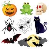 Halloween-geplaatste vieringspictogrammen Stock Afbeeldingen