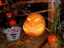Halloween gesneden pompoen Stock Afbeelding