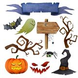 Halloween-Gestaltungselement-Satz Stockfotografie
