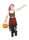 Halloween: Gesti del pirata di scherzetto o dolcetto al lato Fotografie Stock Libere da Diritti