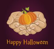 Halloween. The gesture of open palms. Folded hands stretch out a Royalty Free Stock Images