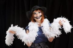 Halloween-gezichtskunst op zwarte achtergrond royalty-vrije stock foto's