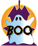 Halloween Ghost. Scary ghost in front of a haunted house Stock Photos