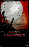 Halloween Ghost. Night at graveyard with tombstones, ghosts, crow,Happy Halloween text and copy-space Royalty Free Stock Photo