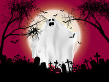 Halloween ghost background. Halloween landscape with ghostly figure and cemetery stock illustration