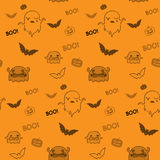 Halloween Ghost Bat Pumpkin Seamless Pattern Backg Stock Photo