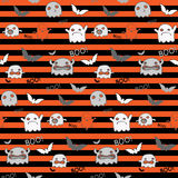 Halloween Ghost Bat Pumpkin Seamless Pattern Backg Stock Image