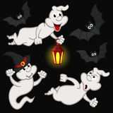Halloween with ghost and bats Stock Images