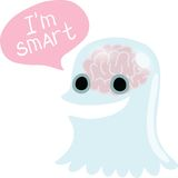 Halloween ghost character with bubble speech Stock Images
