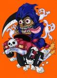 Halloween ghost driver vector illustration