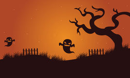 Halloween ghost and dry tree Royalty Free Stock Photos