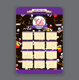 Halloween ghost face background Calendar 2016 year design.  royalty free illustration