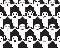 Halloween ghost face vector seamless texture Stock Photography