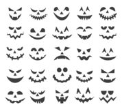 Halloween ghost faces set. Halloween ghost faces. Scary pumpkin devils smiles, spooky jack o lanter or frightened vampire face set isolated on white background stock illustration