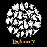 Halloween ghost or holiday spirit round poster. Scary ghost, spooky night monster, funny poltergeist and flying phantom banner for Halloween holiday party Stock Photo