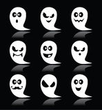 Halloween ghost  icons set on black background Royalty Free Stock Photos