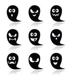 Halloween ghost  icons set - scary, friendly, happy Royalty Free Stock Image