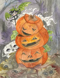 Halloween ghost and jack-o-lanterns. Halloween cute ghost decorating a tower of 3 carved pumpkin. Illustration hand painted in traditional watercolors Royalty Free Stock Image