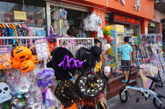 Halloween ghost masks for sale. Shenzhen baoan street shops, in selling Halloween ghost mask, attract people to buy Stock Photography