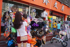 Halloween ghost masks for sale. Shenzhen baoan street shops, in selling Halloween ghost mask, attract people to buy Stock Images