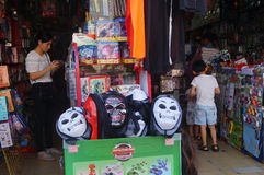 Halloween ghost masks for sale. Shenzhen baoan street shops, in selling Halloween ghost mask, attract people to buy Royalty Free Stock Photos